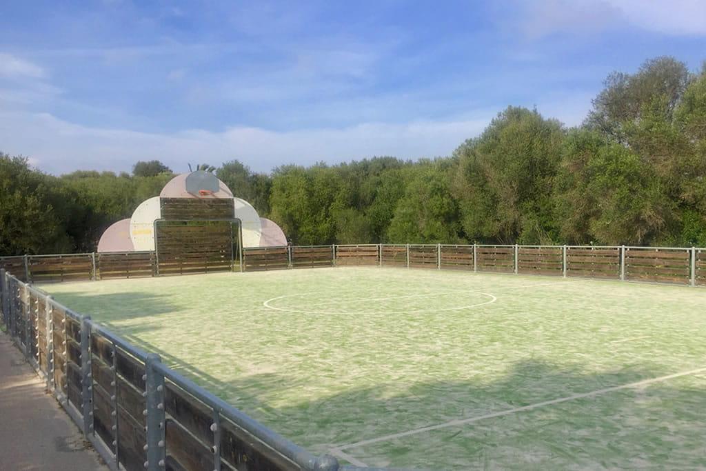 A due minuti da casa, ci sono il nostro campo di calcetto/basket e i giochi per bambini tra gli ulivi selvatici