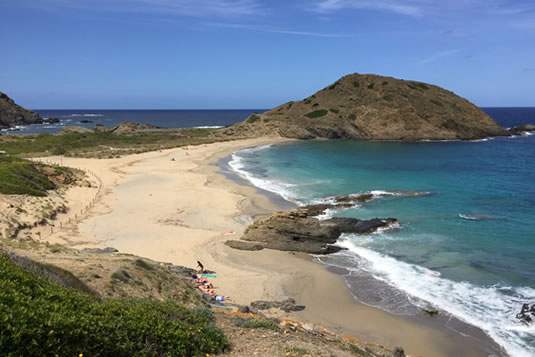 Fine white sand and Caribbean sea in Cala Sa Mesquida