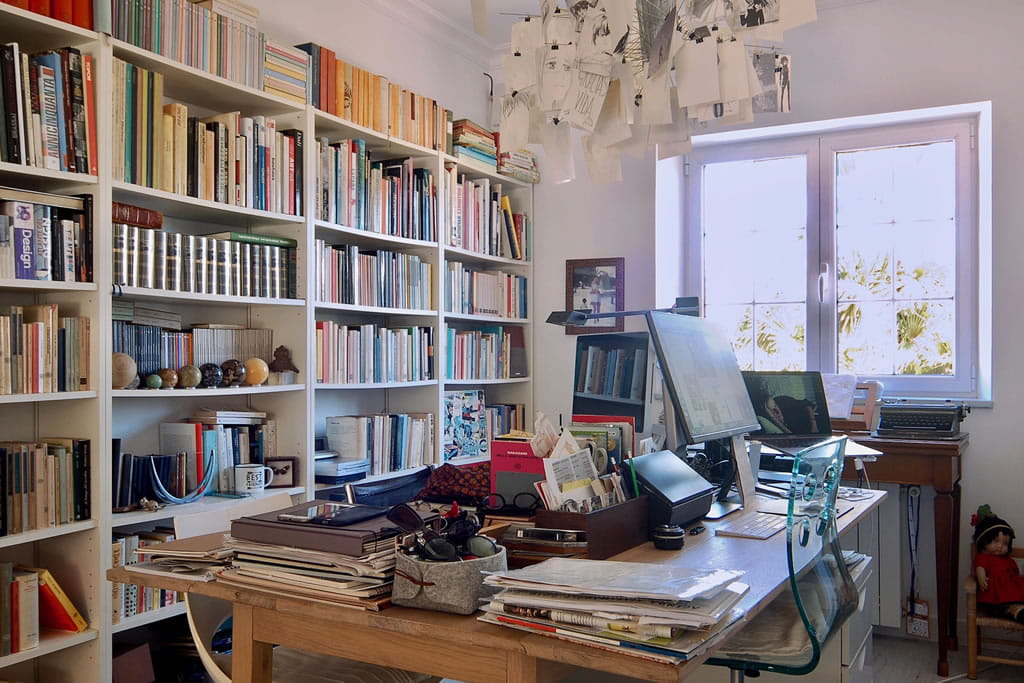 A daily corner of work, our studio, among books, computers and memories